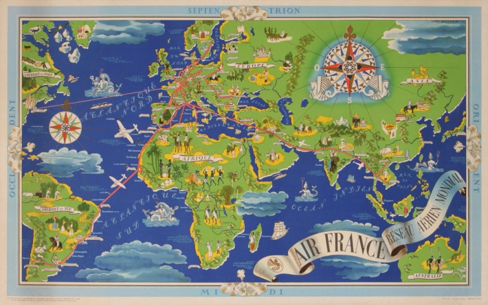 For sale: AIR FRANCE OCCIDENT PLANISPHERE VERTE ET BLEU