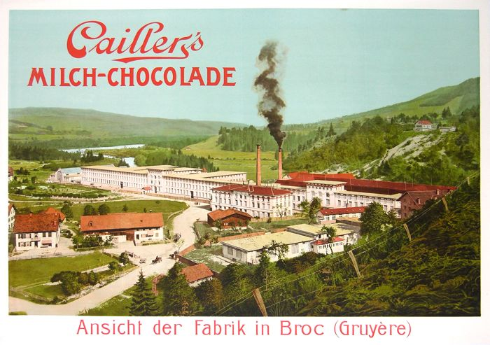 For sale: CAILLER FABRIQUE MILCH CHOCOLADE  VUE GENERALE USINES AFFICHE ANCIENNE