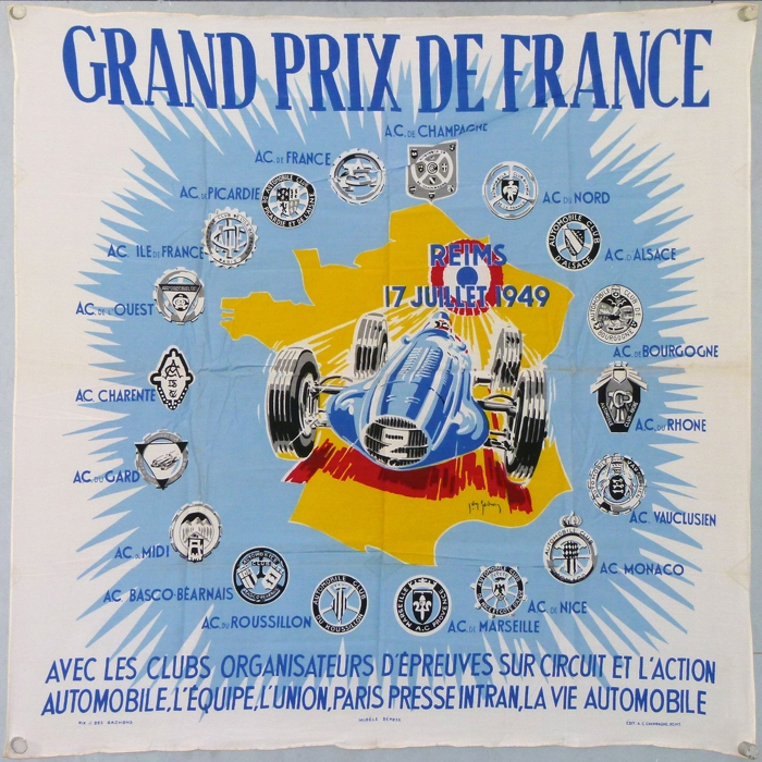 For sale: DES GACHONS FOULARD GRAND PRIX DE FRANCE 1949