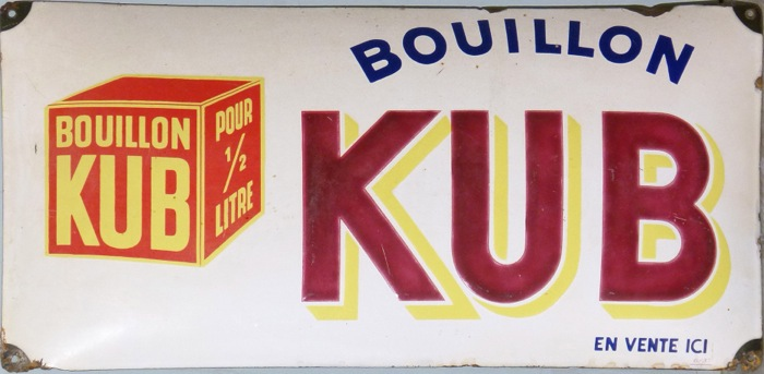For sale: PLAQUE METAL EMAILLEE BOUILLON KUB