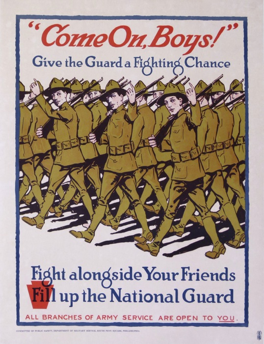 For sale: COME ON BOYS FILL UP  NATIONAL GUARD-GIVE THE GUARD A FIGHTING CHANCE