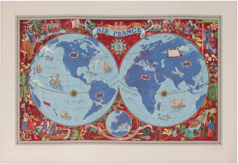 For sale: AIR FRANCE PLANISPHERE SUR LES AILES D'AIR FRANCE DECOUVREZ LE MONDE A VOTRE TOU