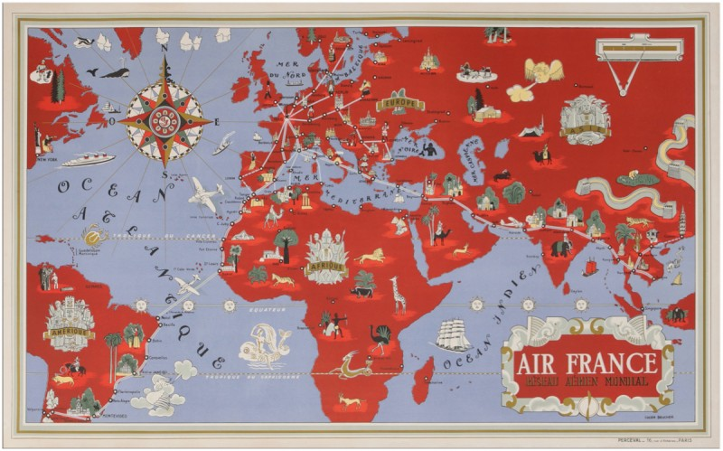 For sale: AIR FRANCE PLANISPHERE RESEAU AERIEN MONDIAL