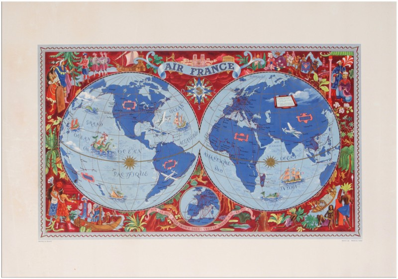 For sale: AIR FRANCE PLANISPHERE SUR LES AILES D AIR FRANCE DECOUVREZ LE MONDE