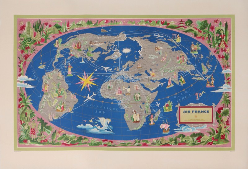 For sale: AIR FRANCE PLANISPHERE LE PLUS GRAND RESEAU DU MONDE