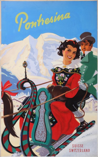 For sale: VEVEY PONTRESINA  ENGADIN SUISSE SWITZERLAND ORIGINAL PROJECT OF THE POSTER
