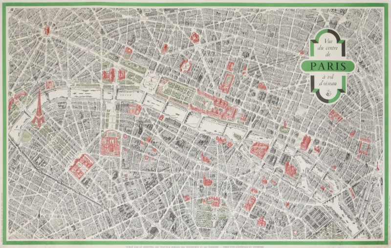 For sale: VUE DU CENTRE DE PARIS A VOL D' OISEAU CARTE PLAN