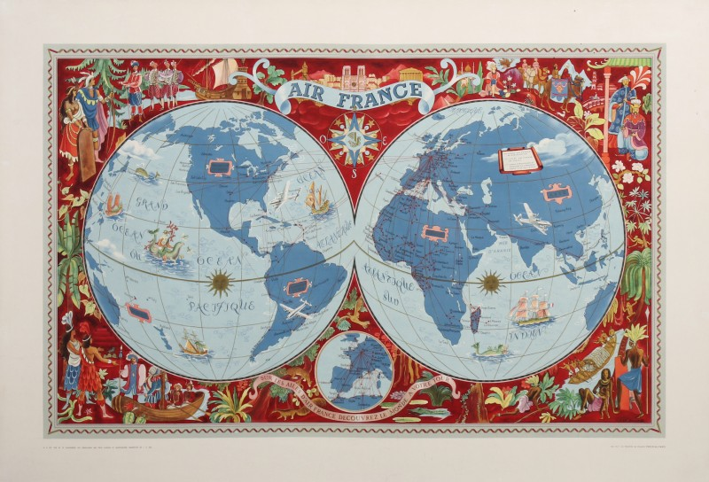 For sale: AIR FRANCE PLANISPHERE SUR LES AILES D'AIR FRANCE DECOUVREZ LE MONDE