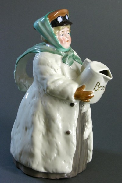 For sale: CHOCOLATIERE FEMME CHAUFFEUR BENZIN FAIENCE POLYCHROME