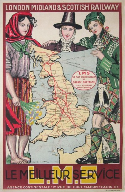 For sale: L.M.S LONDON MIDLAND AND SCOTTISH RAILWAY - AFFICHE ANCIENNE