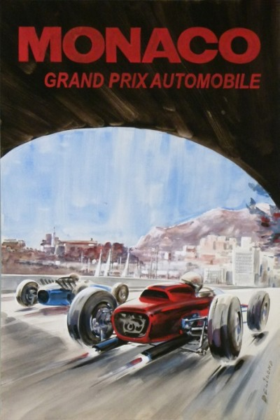 For sale: MAQUETTE GOUACHE MONACO GRAND PRIX AUTOMOBILE