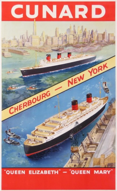 For sale: CUNARD CHERBOURG NEW YORK-QUEEN ELIZABETH-QUEEN Mary