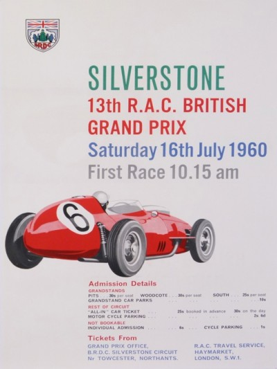 For sale: GRAND PRIX DE SILVERSTONE 13 R.A.C  BRITISH SATURDAY 16TH  1960 FIRTH RACE