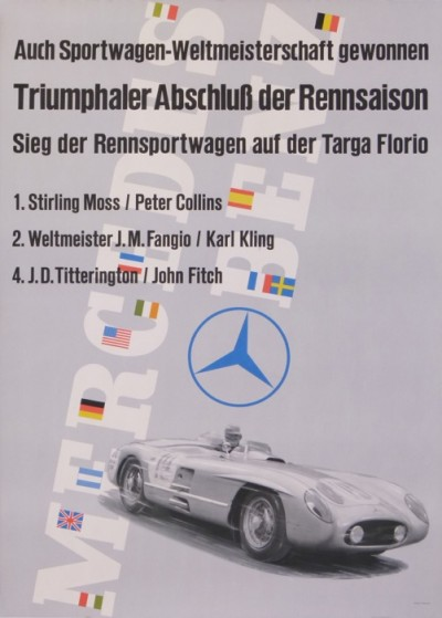 For sale: MERCEDES BENZ TRIUMPHALER ABSCHLUSS  RENNSAISON TARGA FLORIO 1er STIRLING MOSS