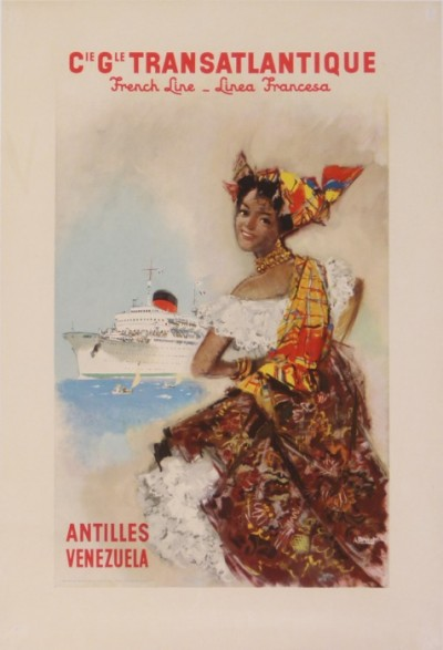 For sale: CIE TRANSATLANTIQUE FRENCH LINE ANTILLES VENEZUELA